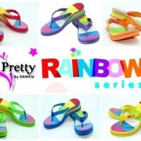 Jual Sandal Sancu Wedges Pretty Rainbow / Sandal Wanita Rainbow Murah