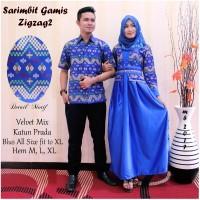 Jual Couple Gamis Prada Zigzag Syari Baju Sarimbit Batik Seragam Sepasang Murah