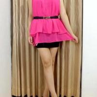 Atasan Pink Chiffon Tanpa Lengan / Atasan / Baju Atasan Susun