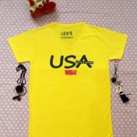 Jual Kaos Tumblr Lengan Pendek USA Kuning Murah