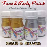 Jual Face & Body Paint Waterbased Gold & Silver 50ml Murah
