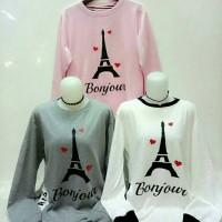 Jual blouse sweater bonjour kaos tebal ld 100 fit to XL Murah