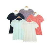WOMEN T-SHIRT NYLON   Atasan Kaos Wanita Brokat Blouse Brokat