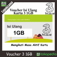 Kartu Voucher Paket Kuota Data Three / 3 / Tri 1GB 1 GB