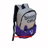 Jual Jual   Tas Ransel Laptop Bonjour Cat Purple Kualitas Bagus Murah