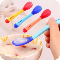 Jual Sendok makan bayi baby safety spoon silikon heat sensing sensor panas Murah