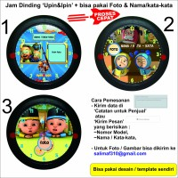 Jam Dinding 'Upin & Ipin' Custom Foto & Nama / Kata-kata + Baterai