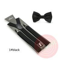 Jual suspender dasi kupu dewasa atau anak warna hitam black, paket hemat Murah