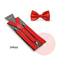 Jual suspender dasi kupu dewasa atau anak warna merah red, paket hemat Murah
