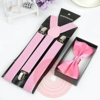 Jual suspender dasi kupu kupu dewasa atau anak warna pink paket hemat Murah