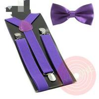 Jual suspender dasi kupu kupu dewasa atau anak warna ungu, paket hemat Murah