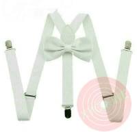 Jual suspender dasi kupu kupu dewasa atau anak warna putih white Murah