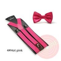 Jual suspenders dasi kupu set pink tua import Murah
