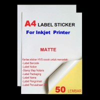 KERTAS STICkER A4 FOR INKJET PRINTER isi 50 lembar
