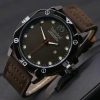 HEMAT! jam tangan timberland pria / jtr 1018 coklat tua plat hitam
