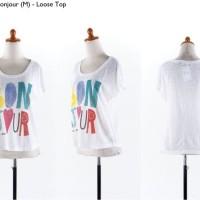 Jual  40627 Bonjour White T Shirt  Kaos Putih  KODE vc9313 Murah