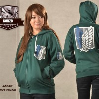 Jual jaket AOT hijau  hoodie attack on titan  Murah