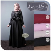 Jual Long Dress Maxi Wanita Muslim polos leria L Xl Murah