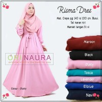 Jual Long Dress Maxi Wanita Muslim polos busui XL risma Murah