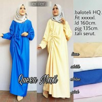 Jual Long Dress Maxi Wanita Muslim cantik polos serut queen jumbo XXXl big Murah