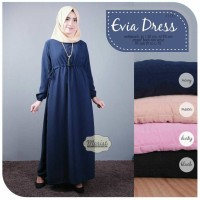 Jual Long Dress Maxi Wanita Muslim polos evia Murah