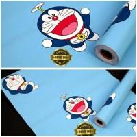 Jual Wallpaper Decor Sticker Dinding Biru Muda Motif Doraemon 45cmX10meter Murah
