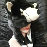 Topi/Kupluk Hewan Srigala Hitam - Black Wolf Animal Hat Serigala Tp