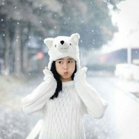 Topi Hewan Srigala Putih Dewasa - Wolf Animal Hat White Serigala Tp