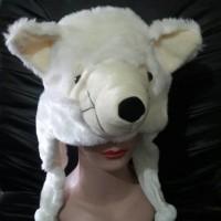 Topi/Kupluk Hewan Srigala Krem - Cream Wolf Animal Hat Serigala Tp