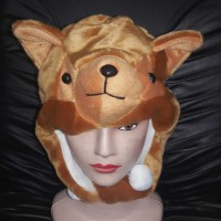Topi/Kupluk Hewan Kucing Coklat - Brown Cat Animal Hat Kado Unik Tp
