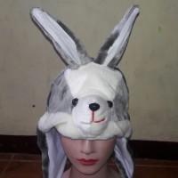 Topi Hewan Kelinci Abu - Grey Rabbit Animal Hat Kado Ulang Tahun Tp