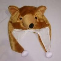 Topi/Kupluk Hewan Srigala Coklat - Brown Wolf Animal Hat Serigala Tp