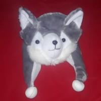 Topi/Kupluk Hewan Kucing Abu - Grey Cat Animal Hat Kado Ulang Tahun Tp