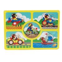 Mainan Kayu Cartoon Puzzle Knob Transportasi (2 Model)