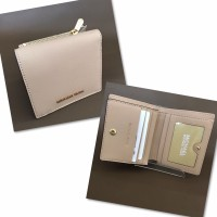 MK Mercer Card Case Wallet in Oyster Saffiano Leather