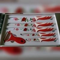 Jual  pisau dapur keramik set motif bunga  kit KODE TR11259 Murah