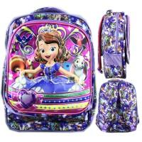 Tas Ransel Sekolah Anak TK Sofia Purple 5D Gambar Rubah2 3 Kantung