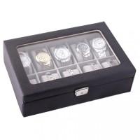 Kotak Jam Tangan Organizer Jam Perhiasan dan Asesoris 10 Space Premium - Hitam