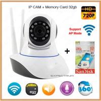 Paket Ip Cam Camera CCTV Wifi HD 720p + Memory Micro Sd Sandisk 32gb