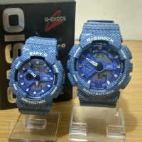 Best Seller Jam Tangan Couple / Pasangan Romantis GA-110 Blue Denim