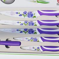 Jual Pisau Keramik Set/ Ceramic Knife Set 6in1/ isi 6 anti bacteria + Box Murah