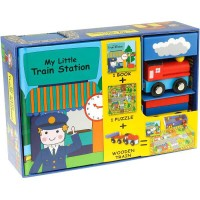 My Little Train Station Play Set - Book, Puzzle, 2 Wooden Train Toys
