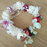 Jual Flower crown full flower with white and red flower Murah