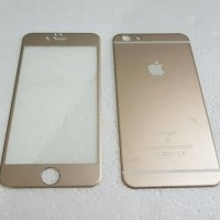 Jual Iphone 6/6S (2 in 1) Premium 3D Glass Gold with camera protector Gol  Murah