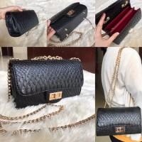 Tas wanita cewek branded fashion import bagus Chanel Crocodile Skin