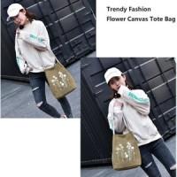 Jual Trendy Fashion Flower Canvas Tote Bag. / Tas Tote Trendy Murah