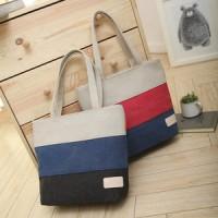 Jual Korean 3 stripes color Canvas Tote Bag,/Tas kanvas bahu Wanita Murah
