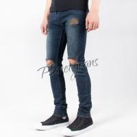 Jual Celana jeans denim robek cowok / sobek lutut pria ripped - PUL23 Murah