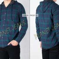 Jual kemeja pria flanel / flannel hoddie / kupluk model jaket sweater FHO03 Murah