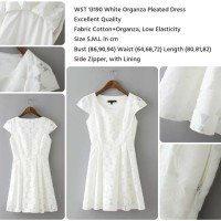 Jual WST 13190 White Organza Pleated Dress (size L) Murah